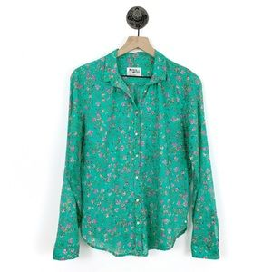 Anthropologie Holding Horses Green Floral Flannel